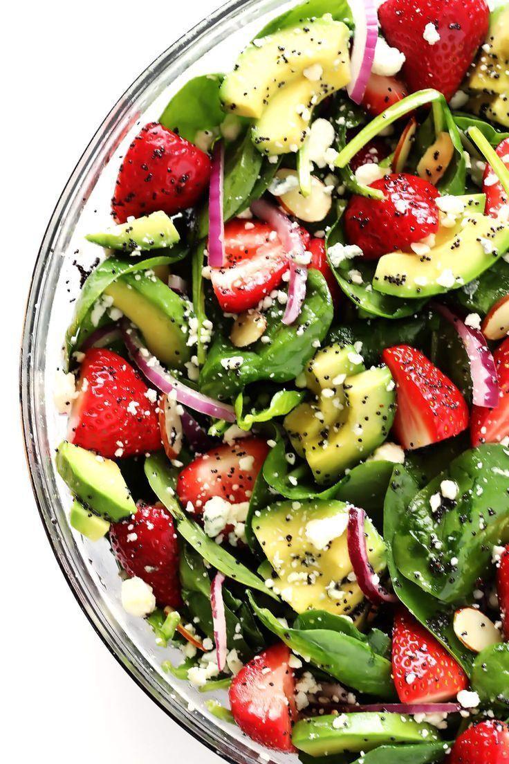 Strawberry Avocado Spinach Salad With Poppyseed Dressing Avocado Dressing Poppyseed Salad Spinach Stra Ensalada De Aguacate Espinacas Ensaladas Frescas