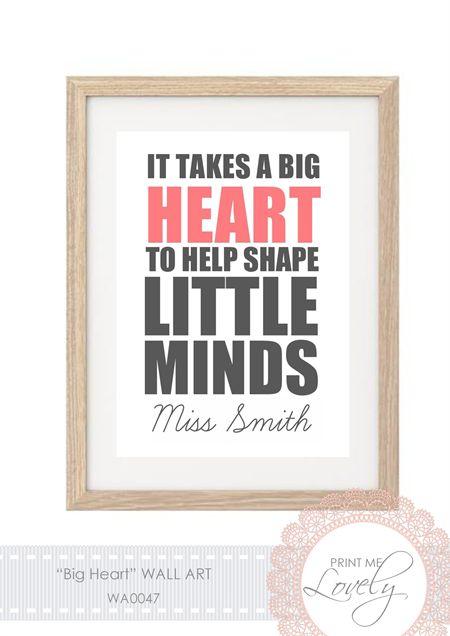 """""""BIG HEART"""" Teacher Gift Wall Print A4 Cardstock"""