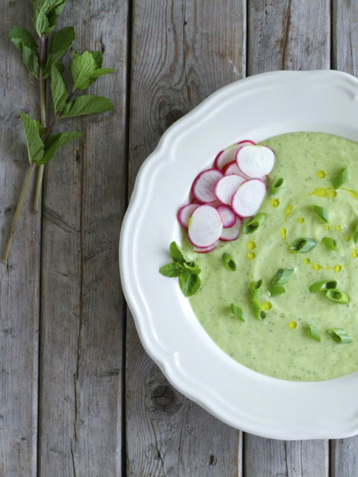 This Cold Avocado and Cucumber Soup Recipe is a simple, delicious, and healthy vegetarian soup that you can make ahead of time. Perfect for a hot summer day!