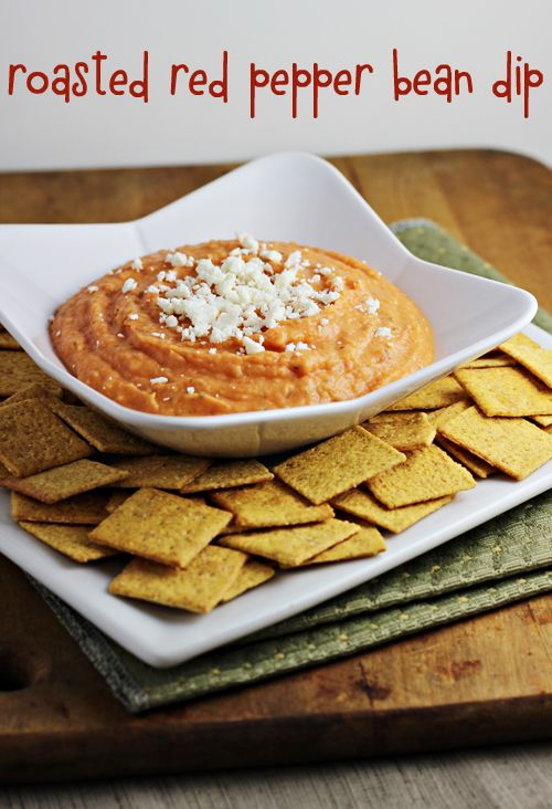 Roasted Red Pepper Bean Dip Blend together jn food processor:  3 15-ounce cans Great Northern Beans (white beans), rinsed, drained thoroughly 1 12-ounce jar roasted red peppers, drained 2 tablespoons lemon juice 2 tablespoons olive oil 2 teaspoons dried oregano 2 teaspoons minced garlic 1/2 teaspoon red pepper flakes Salt and pepper, to taste 2 ounces feta cheese, crumbled (optional for topping)