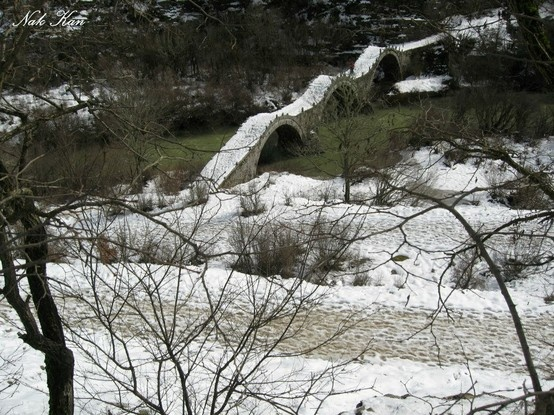 Traditional bridges in snow