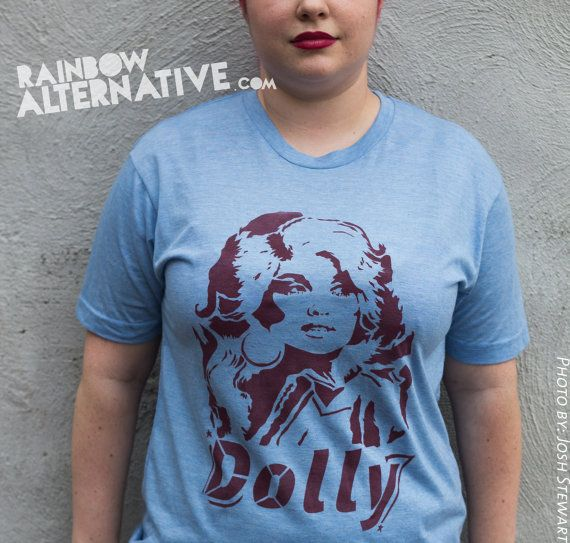 ode to Dolly Parton t shirt tshirt country music stencil and spray paint art by Rainbow Alternative on Etsy
