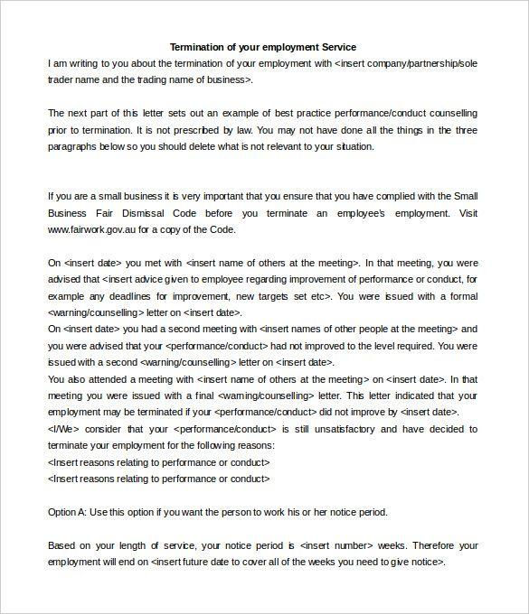 Employee Dismissal Letter  CityEsporaCo