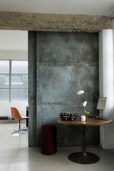 beautiful door, why not chalkboard?! Loft by Solange de Fouchardière, http://bodieandfou.blogspot.com/2008/07/london-loft.html