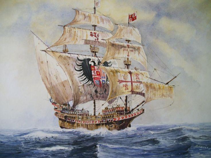 """Galeón San Mateo, 800 t y 36 cañones, protagonista de la """"Batalla de la isla Terceira"""" en las Azores. Más en www.elgrancapitan.org/foro"""