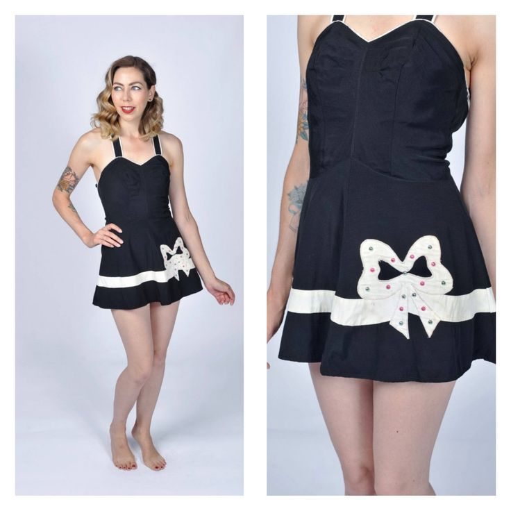 Vintage 1950's Nym Form Black and White One Piece Swimsuit with Bow and Grommet Studs/ 50's Playsuit/ Bathing Suit Swimwear X-small/ Small by VintageVictoryGirl on Etsy https://www.etsy.com/ca/listing/548567981/vintage-1950s-nym-form-black-and-white