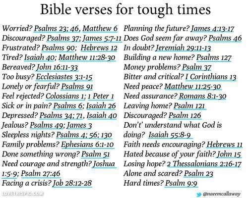 These verses are great for difficult times! My favorite verse is now Proverbs 3:5, but I don't see it here.. I think it qualifies for all situations though...