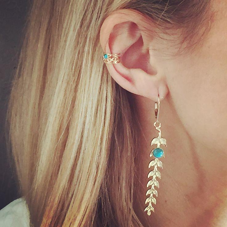 Collection Tulum & Yucatan : BO épi turquoise - clip d'oreille turquoise