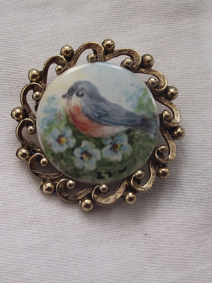 vintage hand painted on china brooch