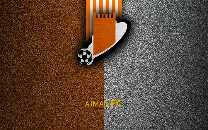 Download wallpapers Ajman Club, FC, 4K, logo, football club, leather texture, UAE League, Ajman, United Arab Emirates, football, Arabian Gulf League