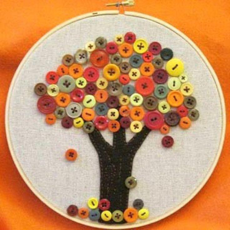 Manualidades con botones: árboles!