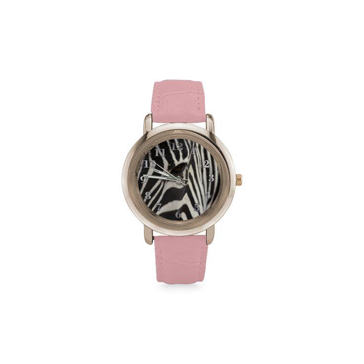 Zebra Women's Rose Gold Leather Strap Watch. FREE Shipping. #artsadd #watches #zebra