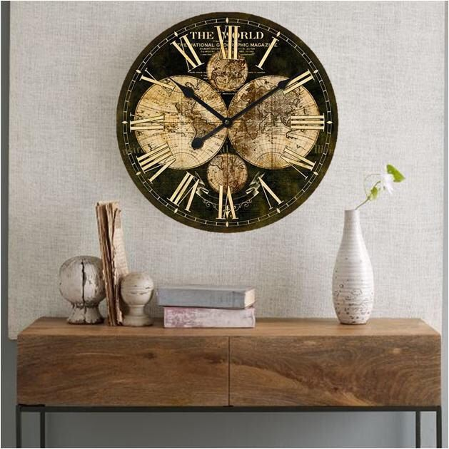 Large Wall Clock - WORLD MAP Vintage Wall Clock 24x24 Inches by Homeguru on Etsy https://www.etsy.com/listing/225927948/large-wall-clock-world-map-vintage-wall