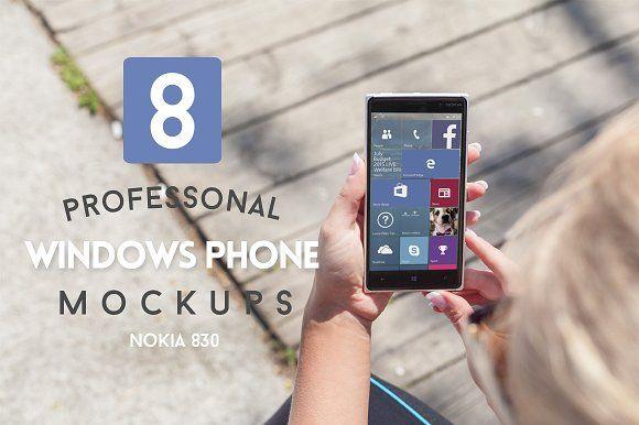 8 Windows Phone Mockups by ZedProMedia on @creativemarket