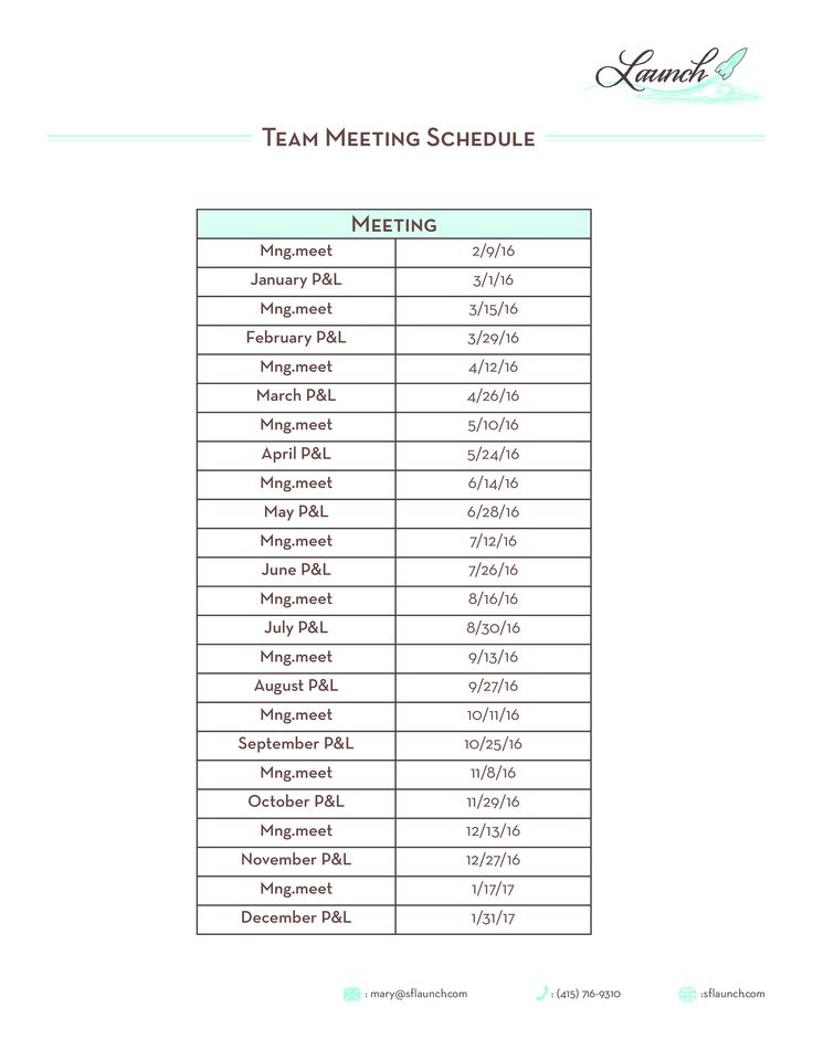 Team Meeting Schedule How to create a Team Meeting