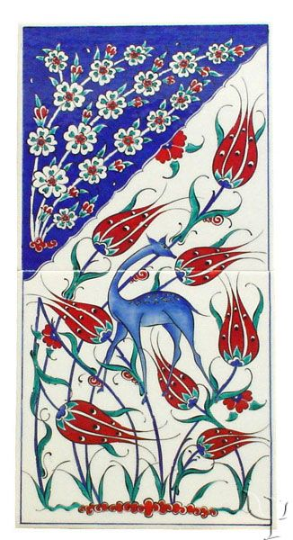 beautiful an Iznik ceramic tile with tulips, roses nazar symbol and an animal?