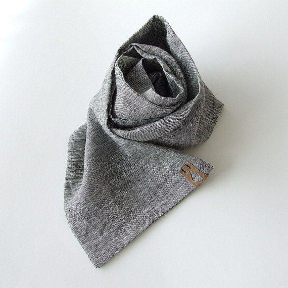 Men's Summer Scarf Gray Linen Scarf for Men Gift for by AJatelier