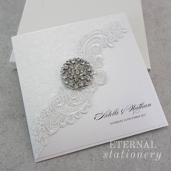 vintage invitation perri wedding brooch lace polina invitations cut with uk laser