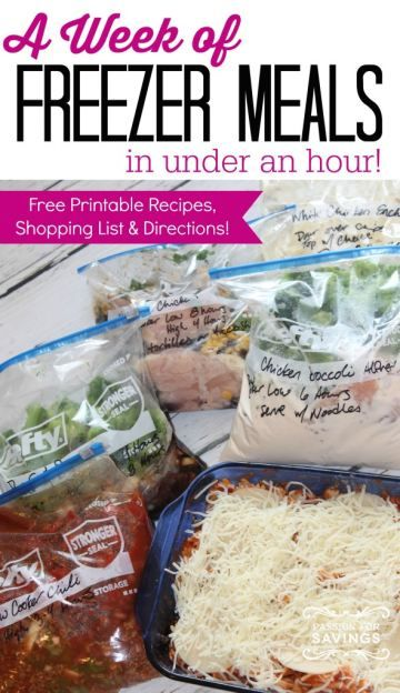 A week of easy freezer meals in under an hour.