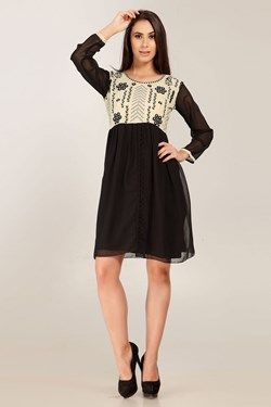 Kurtis,Admyrin,Black  and Cream Georgette Embroidered  Full Sleeve Kurti