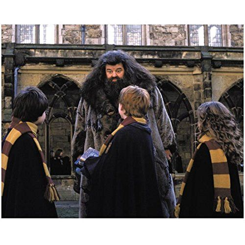 Robbie Coltrane 8 inch x 10 inch PHOTOGRAPH Harry Potter Movies as Rubeus Hagrid Talking to Kids kn