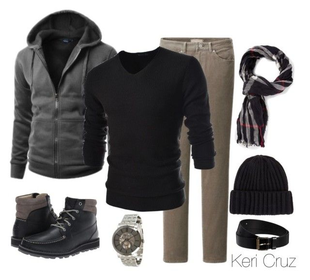 """Men's Winter Fashion"" by keri-cruz ❤ liked on Polyvore featuring Uniqlo, TheLees, Kenneth Cole, Sperry Top-Sider, Burberry, Scoop and Black & Brown London"