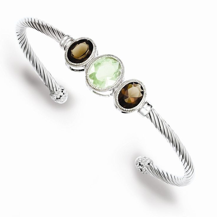 Sterling Silver Smokey Topaz and Green CZ Twisted Rope Bangle. Sterling-Silver. High Polished Finish. Free Gift Box Ready for Gift Giving. 30-Day Return. Average gram weight: 1.12.