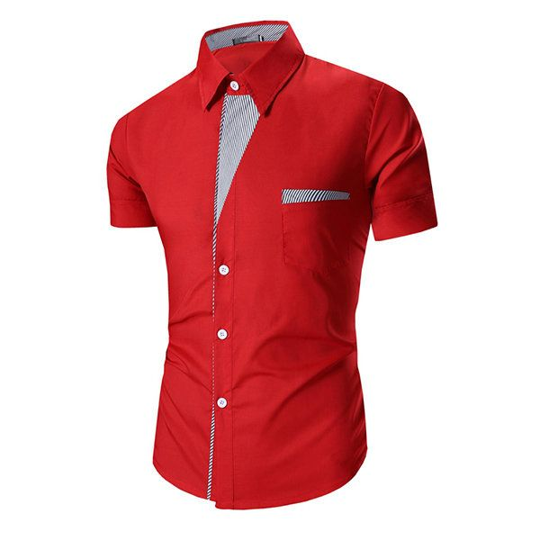 Bussiness Casual Summer Turn-down Collar Striped Patchwork Short Sleeves Dress Shirt for Men