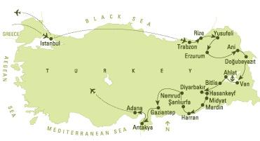 Eastern Turkey 2013  For the traveler who relishes exploring off the beaten track, this tour offers the charms of a rustic region.   Istanbul - Trabzon - Rize - Yusufeli - Barhal - Osk Vank - Erzurum - Ani - Dogubeyazit - Van - Akdamar - Ahlat - Bitlis - Diyarbakir - Hasankeyf - Midyat - Mardin - Harran - Urfa - Nemrut Dag - Halfeti - Zeugma - Gaziantep - Antioch - Tarsus - Adana
