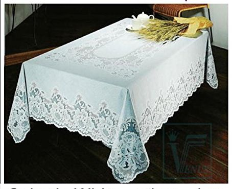 Our FY046 Vinyl Lace Tablecloth Makes A Beautiful Table Topper, For  Everyday To Christmas And