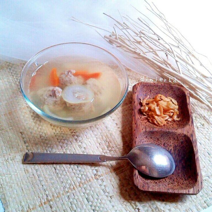 Homemade meatballs soup