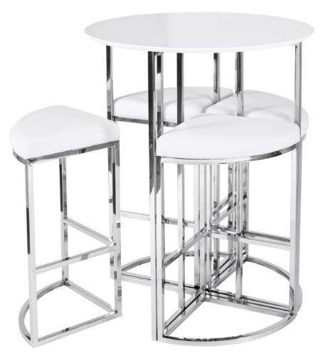 New Dwell Style Gloss White Orbit Bar Table Set Inc 4