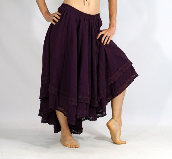 Spitzen getrimmt GYPSY Rock High/Low geschichteten lila - Gypsy, asymmetrische, Renaissance Festival Kostüme, Mittelalter Kleid, lila Spitze, Hi-Low