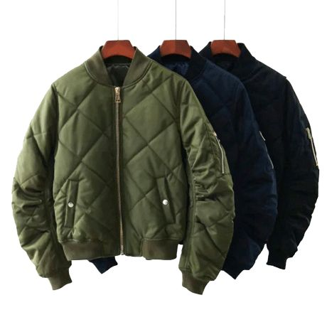 QUILTED WARM ARMY GREEN BLACK COLOR SATIN BOMBER  $35,90