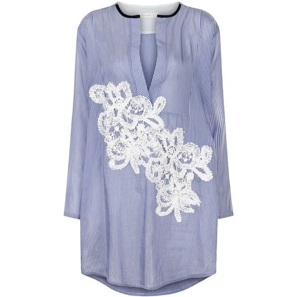 Lila Eugenie Blue Pinstripe Lace Appliqué Shirt Dress ($290) ❤ liked on Polyvore featuring dresses, lace applique dress, long sleeve boho dress, blue shirt dress, crochet lace dress and lace dress