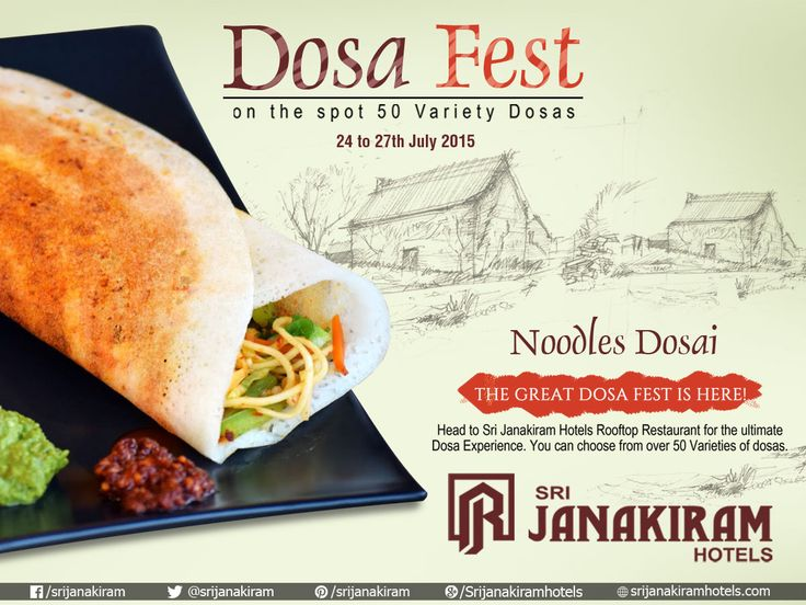 #NoodlesDosa  - Crispy dosa simply filled with Stir-Fried Vegetables. Enjoy this weekend with your loved ones at #SrijanakiramHotels  from 24th to 27th July at #Rooftop_Restaurant‬ #DosaFestival #DosaFest #DosaMela #foodie