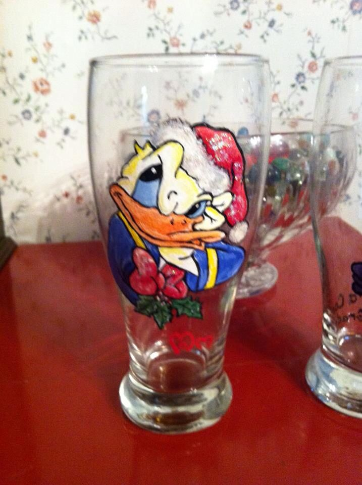 My duck loving mother extended her artistic talent to painting on glassware. This is one of the many personalities which she painted for friends and family.