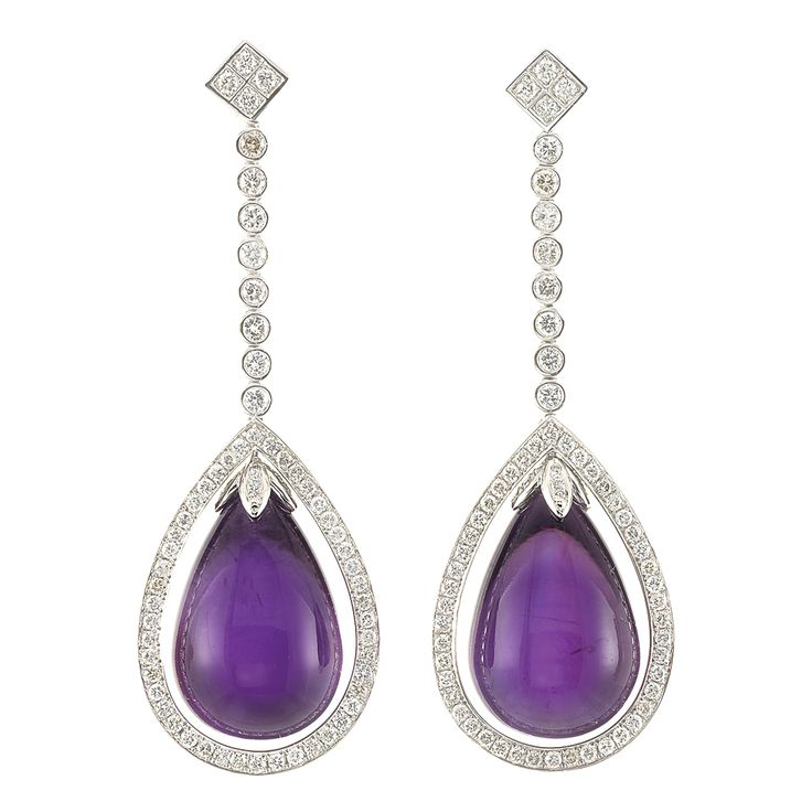 A Pair of White Gold, Amethyst and Diamond Pendant-Earrings