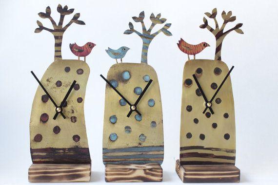 Handmade Tree & Bird clock in etched metal by JillStewartworks