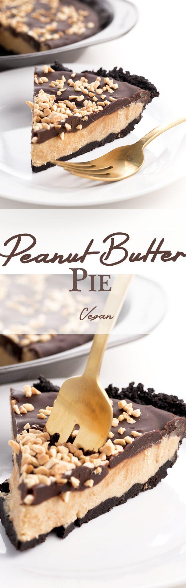 Vegan Oreo Peanut Butter Pie - No Bake/ Simple To Make! vegan peanut pie chocolate dessert