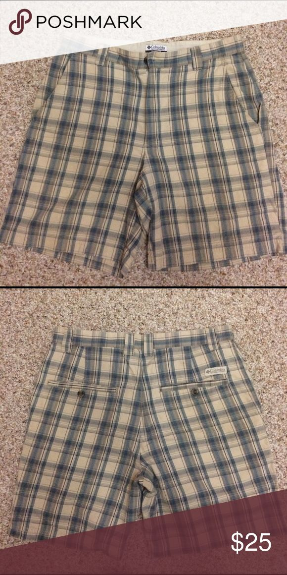 Columbia Sportswear Company shorts 100% cotton plaid; size 32; plaid print: blue/beige/grey; brand new shorts, never worn but tags are off. Columbia Shorts Flat Front