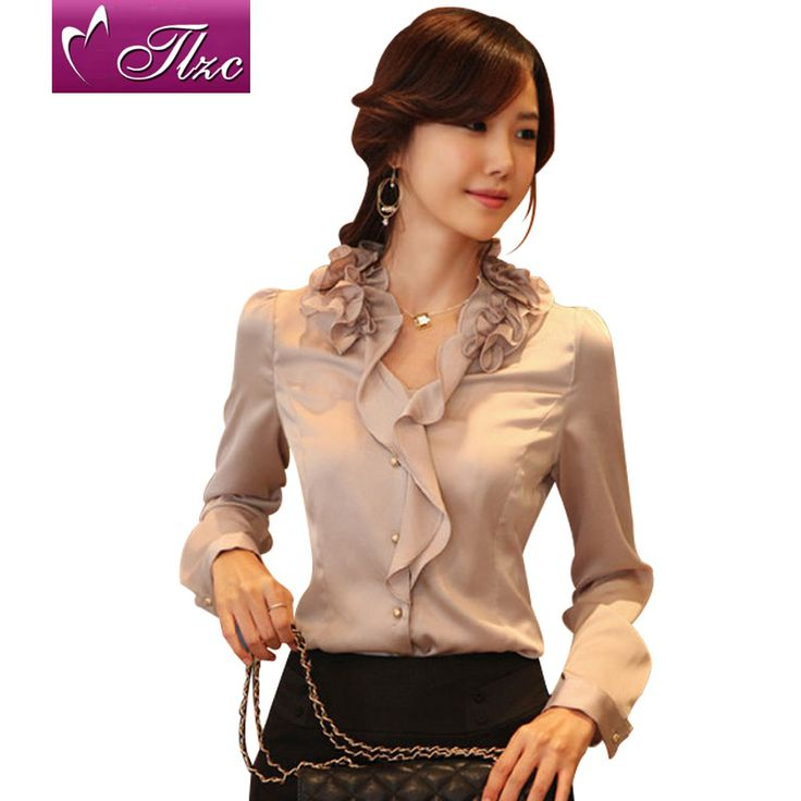Ruffled Blouses for Women | Women chiffon shirt Boyfriend style shirts Fashion Blouse Ladies Half ...