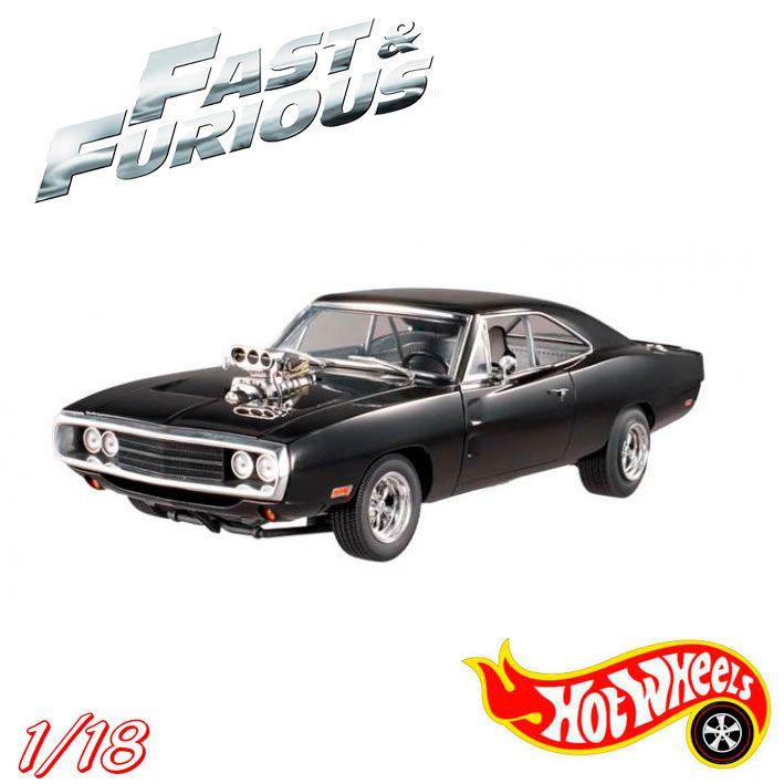 Coche Dodge Charger RT 1970, A Todo Gas 7, Escala 1/18 Mattel Réplica a escala 1/18 del coche Dodge Chalrger que aparece en la película A todo gas, perteneciente a Dominic Toretto.