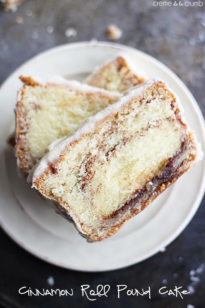 Cinnamon Roll Pound Cake with Vanilla Icing   TheBestDessertRecipes.com