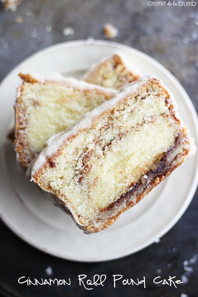 Cinnamon Roll Pound Cake with Vanilla Icing | TheBestDessertRecipes.com