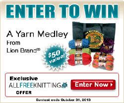 Enter to win a Yarn Medley from Lion Brand Yarn with AllFreeKnitting.  Lion Brand's yarns have been knitter favorites for years; with this giveaway you'll get six skeins of yarn plus a tote to carry your prize in!