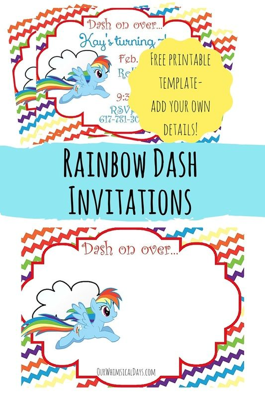 So cute! Free Rainbow Dash party invitations - perfect for a My Little Pony party!