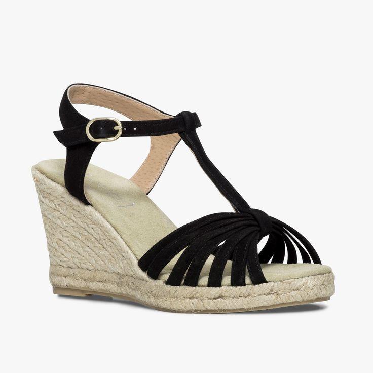 Sandale compensée noire en cuir velours