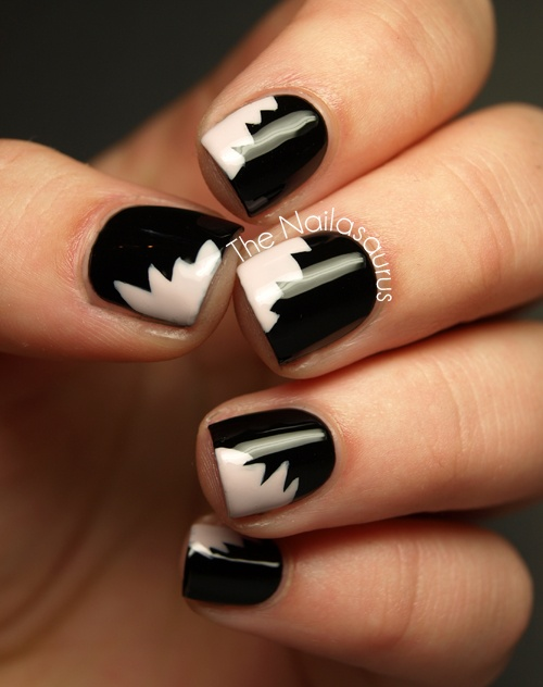 W7: Black(base colour); Models Own: Utopiafor the 'bites' which were applied with a striping brush; Essence: Better Than Gel