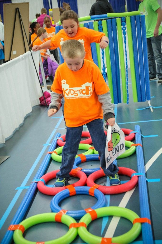 """Oodles of Fun with Pool Noodles.  A """"how-to"""" blog to create fun games for kids! Hopscotch!  #BLENDCentralMN"""